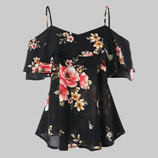 US Womens Off Shoulder Floral Summer Tops Ladies Loose Casual Blouse Tee T Shirt