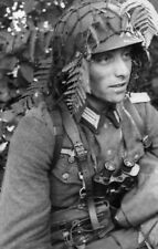 WW2 Photo WWII German Officer Camoflauge Helmet  World War Two Wehrmacht / 2472