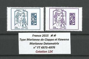 FRANCE 2015 YT n° 4975-4976 MNH ** Marianne Datamatrix