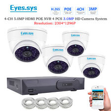 Eyes.sys 4PCS 3MP 2304*1296P 48LED Vandal DOME HD Camera PoE NVR Security system