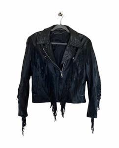 VINTAGE Conchos Border Hawk Fringe Leather Moto Motorcycle Jacket Coat 12