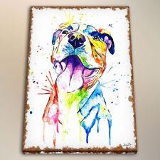 Canvas HD Art Print Living Room Decoration Watercolor Painting Pitbull 24x32