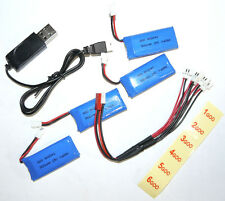 4x 3.7v 1S 500mAh 25c Lipo Battery + Charge Cable + USB Charger For Micros