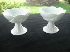 Vintage White Milk Glass Candle Holders (Pair) Grape Pattern