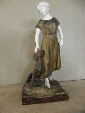 Authentic old figurine bronze lady figure m.maigan Woman dog statue Sculpture