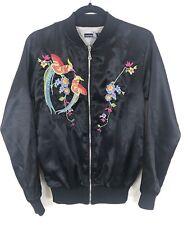 Tall Embroided Bomber Jacket 8 Black Satin Style Birds Flowers Stitched Jacket