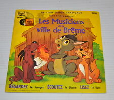 "BREMEN TOWN MUSICIANS 7"" French Story Record & Book WALT DISNEY"