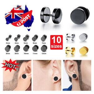Pair Black Flat Round 316L Stainless Steel Barbell Plug Stud Earrings GYM MENS