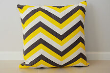 Chevron Home Decor Cushion Cover Throw Pillow Case Dark Grey/Yellow Kibui NEW