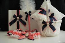 Lace Bearer Pillow Coral Navy Wedding Flower Lace Ring bearer Girl Basket Set
