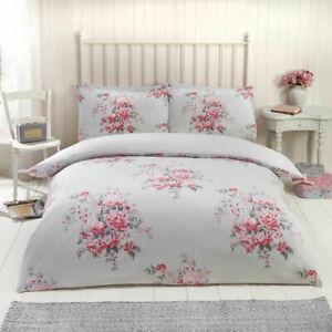 Shabby Chic Floral Brushed Cotton Flannelette Duvet Set Grey Cheapest on Ebay