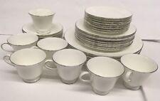 39 Pc Set Wedgwood Tea Cup Saucer Dinner Dessert Plate White Silver Bone China