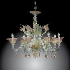 Elegant lustre de Murano à 8 lumières cristal or vert