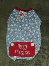 New listing Pet Central Lama Pajamas Dogs/Cats Christmas Gray Red White Happy Christmas med