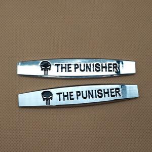 2x The Punisher Skull Car Emblem 3D Metal Side Fender Decal Auto Badge Sticker
