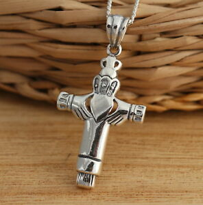 Solid 925 Sterling Silver Celtic Cross Pendant with Claddagh Design Jewellery