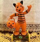 Vintage Halloween Hard Plastic Cat & JOL on Wheels Pull Toy Tico Rosbro 1950s!!