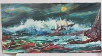 24x48 Unframed Seascape Boat Storm Waves Crashing Rocks Signed Mid Century Style