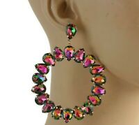 "MASSIVE 4"" x 3"" Inch Watermelon GLASS Hoop Statement Earrings!"