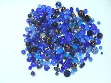 BLUE Lamp Work Blown Glass Etc. Bead Assortment--150+ grams