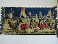 40s  VICTORIAN TAPESTRY JACQUARD WALL HANGING  DUTCH LADIES #BOATS Fishing Wind