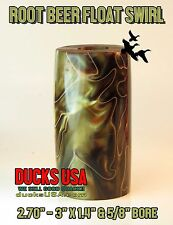 "Duck Call Acrylic ROOT BEER FLOAT EXOTIC SWIRL 3"" with 5/8 Inch Center Bore"
