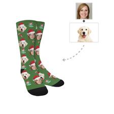 Custom Face Christmas Dog Hat Turn Your Photo into Crew Socks Unisex