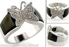 Butterfly Ring Crystal Black Onyx Silver Rhodium