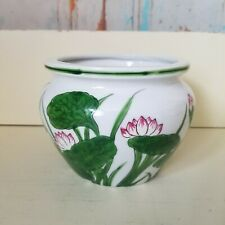 Vintage Andrea By Sadek Planter/Pot Hand Painted Lotus Flowers Botanical Print