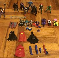 Lot Vintage Kenner DC Comics Superman Batman & Robin Action Figures 1990's