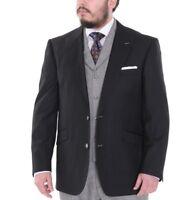 Pierre Noir Classic Fit Solid Black Peak Lapels Blazer Sportcoat & Vest Set 44L
