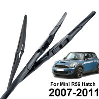 Front Rear Wiper Blades Kit Fit For Mini Cooper 1.6 R56 2007 2008 2009 2010 2011