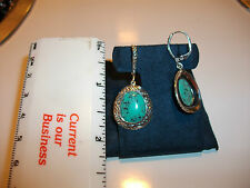 Vintage Style Sterling silver & Turquoise dangly Earrings with leverbacks. WOW!