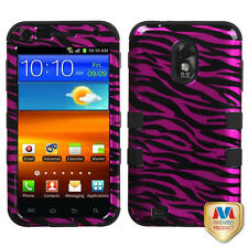 US Cellular Samsung Galaxy S II IMPACT TUFF HYBRID Case Cover 2D Hot Pink Zebra