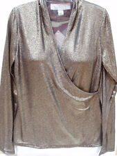 American Glamour Badgley Mischka Top Shirt Blouse Wrap XS Gold Black Metallics
