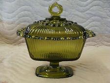 Vintage Indiana Glass Rectangular Avocado Green Filigree Edge Candy Dish w/ Lid