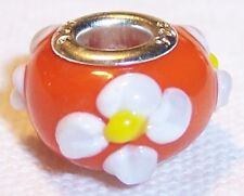 Orange White Daisy Flower Murano Glass Bead for Silver European Charm Bracelet
