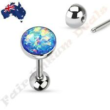 316L Surgical Steel Tongue Ring Barbell With Blue Sparkle Opal