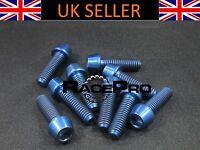RacePro - 6x Titanium Tapered Bolt GR5 - M5 x 18mm x .8mm - Blue Allen Head