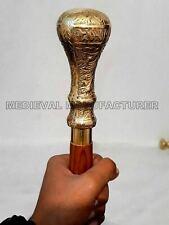 Brass Handle Victorian Designer Canes Antique Wooden Walking Stick Vintage Cane
