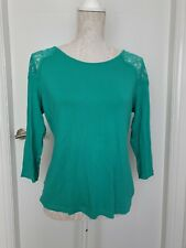 LADIES M&S COLLECTION JADE GREEN COTTON LACE SHOULDER 3/4 SLEEVE TOP SIZE 14