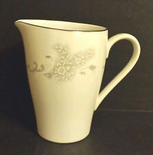Mikasa Serenade Creamer 6009 White Flowers On White w Gray Scrolls Silver Rim