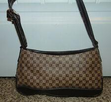 Liz Claiborne Womens Leather Handbag Monogrammed LC Brown Purse Brown Red Interi