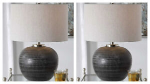 """PAIR MIKKEL MODERN GLAZED ETCHED CERAMIC 22"""" ACCENT TABLE LAMPS UTTERMOST"""