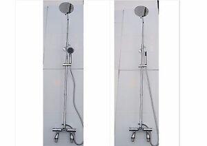 THERMOSTATIC DECK BATH SHOWER MIXER TAPS, ROUND OVERHEAD & HANDHELD 057UD/355