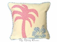 """Blue Pink Hibiscus Palm Tree Cath Kidston  Applique 16"""" Cushion Cover Cotton"""