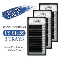LashView MATTE Flat Eyelash Extensions Split Tips Lash Clearance Sale 3Trays/Lot