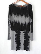 Element Dress Tunic Bat-Wing Long Sleeve Viscose Black/Gray Size L