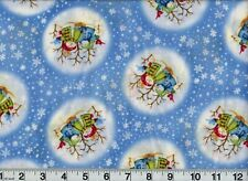Vintage Christmas Holiday Fabric Snowmen on Blue OOP New Old Stock
