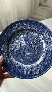 Vintage Royal Tudor Ware Coaching Taverns 1828 Blue & White Plate